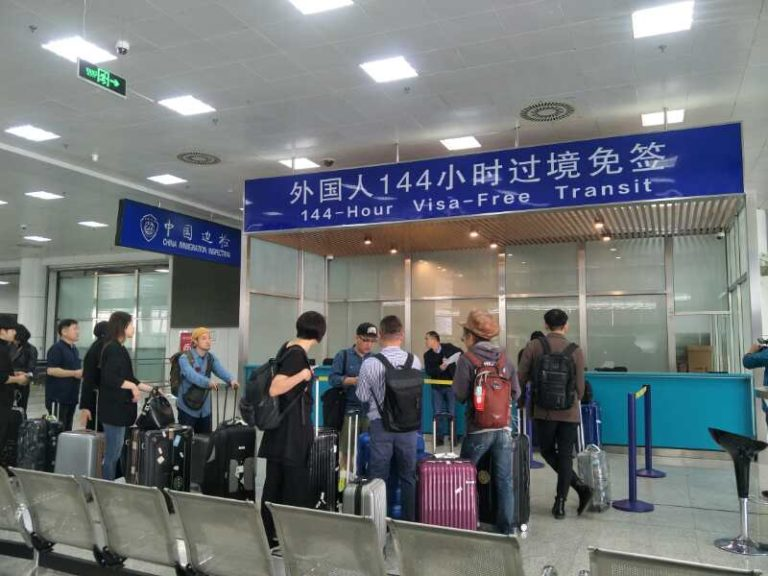 The customs line at the airport for the 144-hour visa-free transit in China