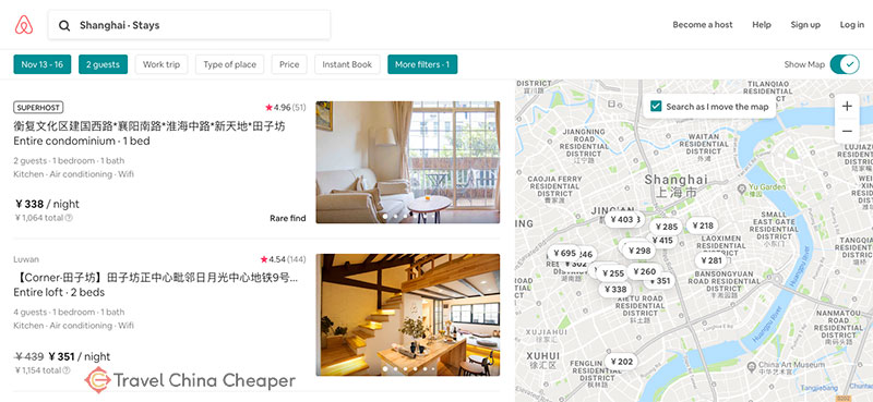Homes listed in Shanghai on Airbnb in China