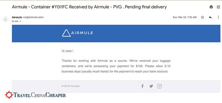 Email confirmation from Airmule