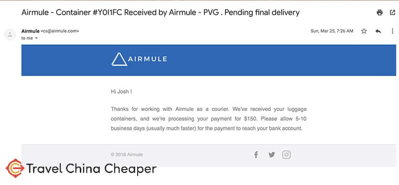Email confirmation from Airmule that payment was pending
