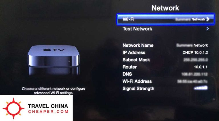 Wi-fi settings on the Apple TV being setup for VPN