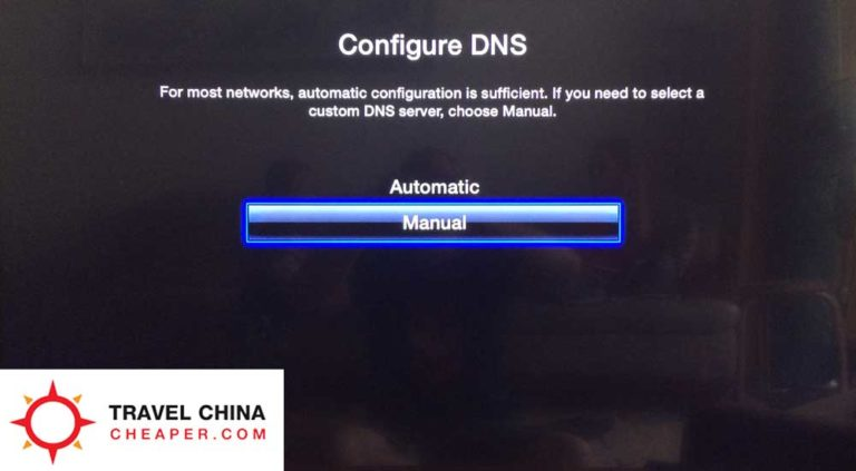 Manual DNS settings for Apple TV