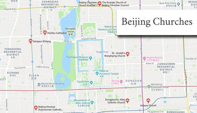 A Google search map of churches in Beijing