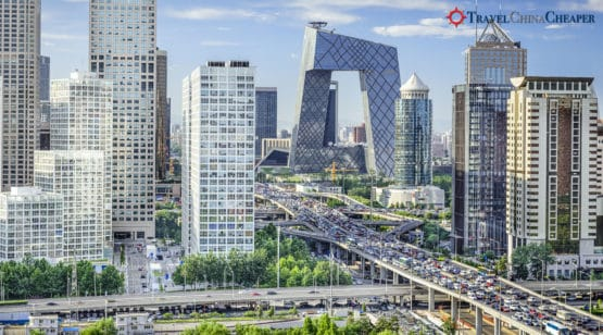 Bird's eye view of Beijing's busy street blocks