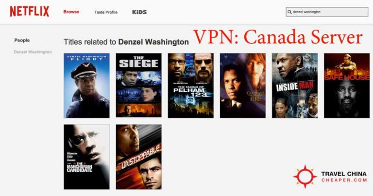 Netflix movie options using a VPN server in Canada