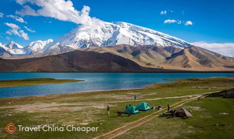 China camping tents at Xinjiang's Karakul Lake
