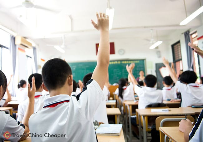 A classroom full of students in China