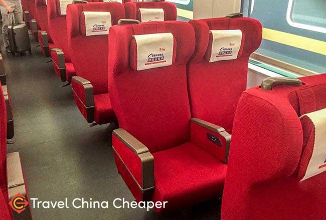 China high speed train 1st class seats