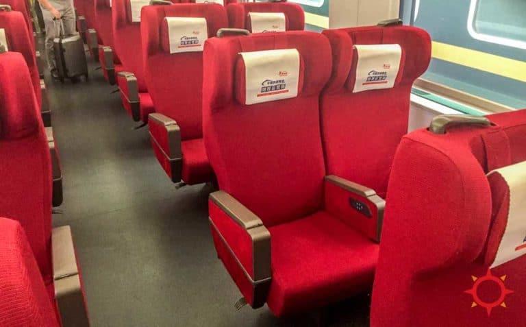 Inside China High Speed Train 1st class