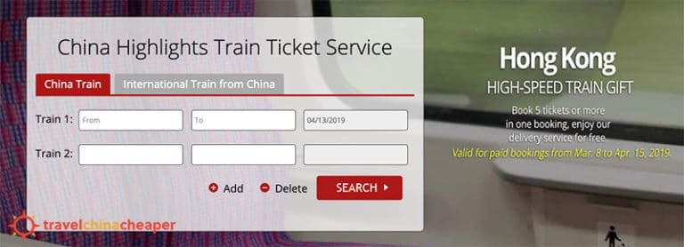 China Highlights China train tickets online search service