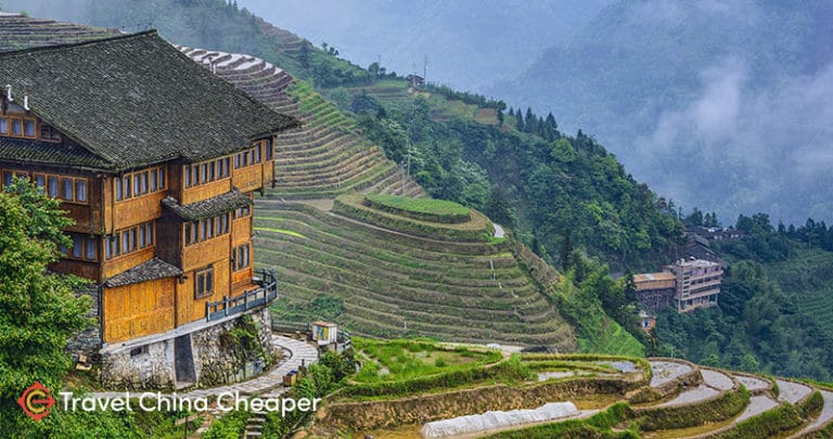 A luxury China hotel overlooking the Longsheng terraces.