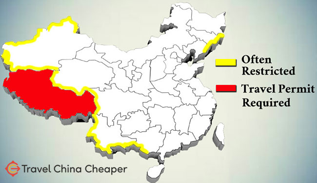 A map of the various China travel restrictions
