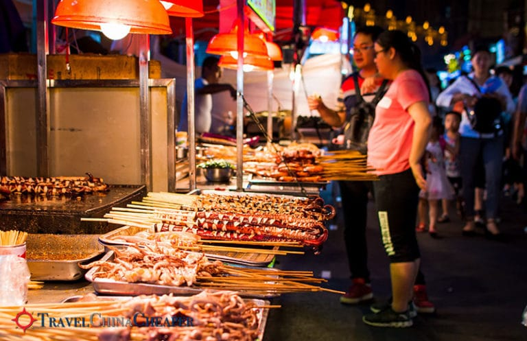 A lively night market in China