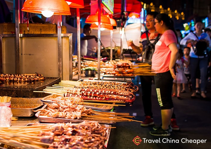 Street food at a night market in Chengdu, China.