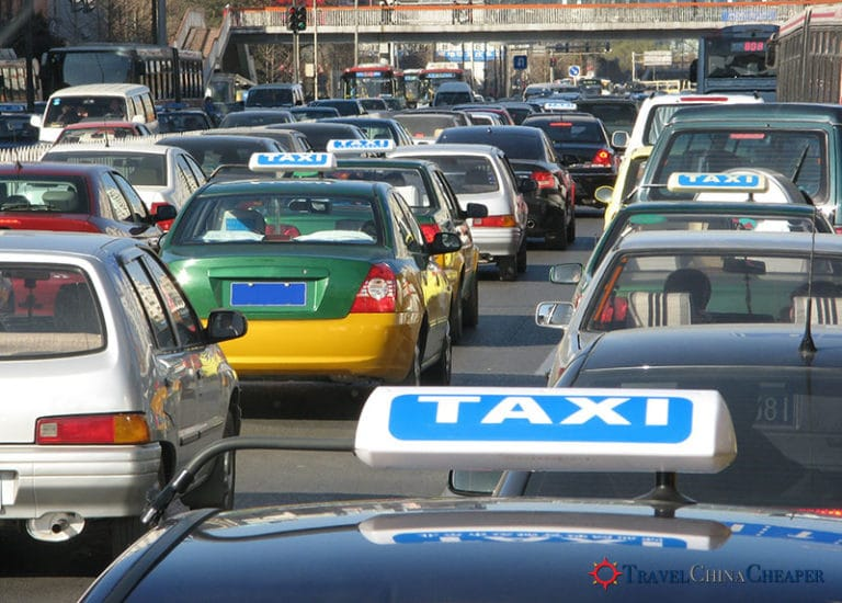 Chinese taxis on a highway in China