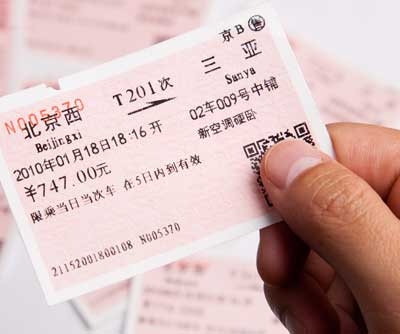 Somebody holding a Chinese train ticket in their hand