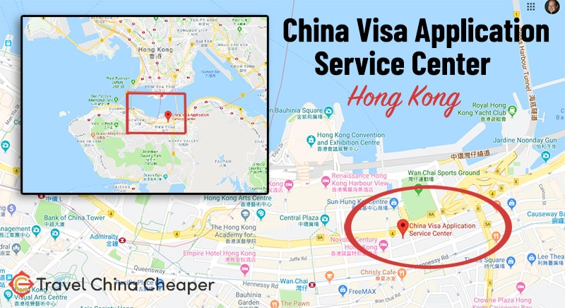 Map of the China Visa Application Service Center in Hong Kong