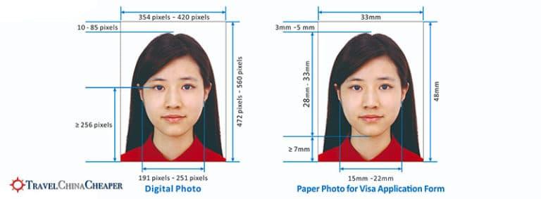 China visa photo dimension requirements