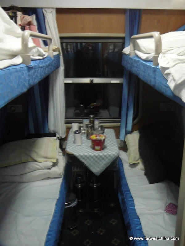 Soft sleeper beds in a China train