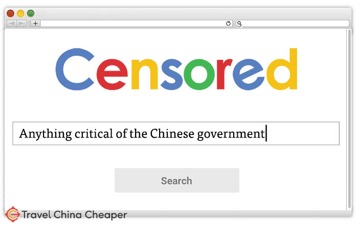 Internet browser showing censored search results in China.