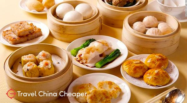 Chinese Dim Sum breakfast with tea (早茶), a popular Chinese food