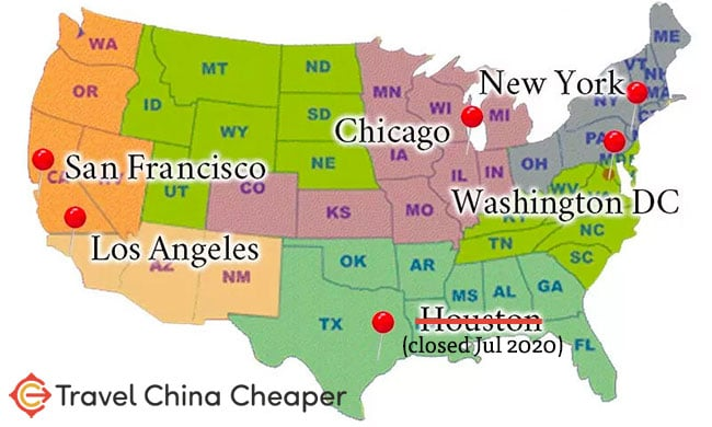 Chinese embassy locations in the United States for 2021