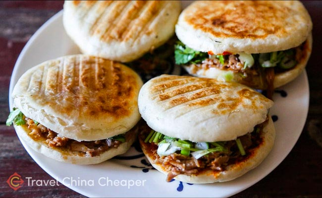 Chinese sandwhiches, also called Roujiamo (肉夹馍), which can often be found at street stalls