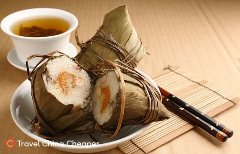 Chinese zongzi, one of many different foods in China.