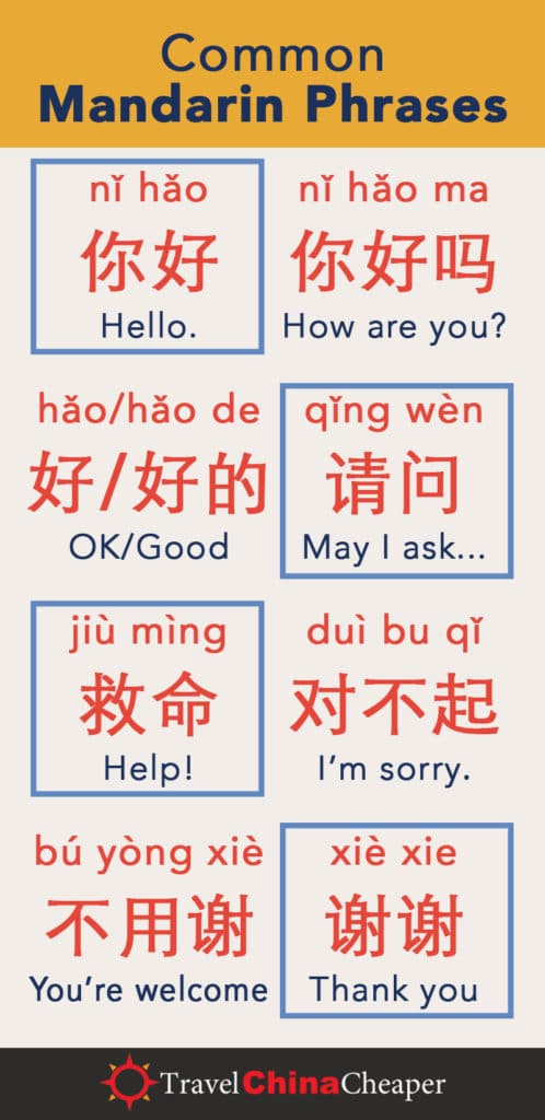Pin these common Mandarin Phrases on Pinterest!