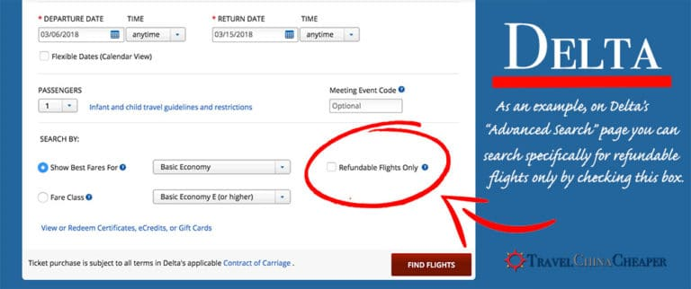 Example of a refundable ticket option on Delta's website