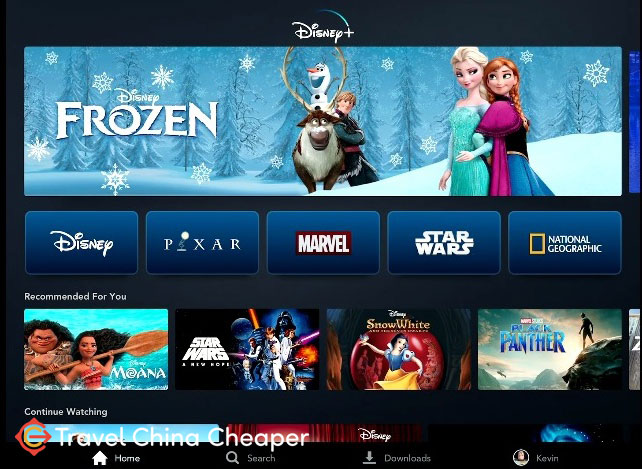 The homescreen of Disney+ streaming service