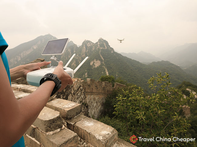 Flying a drone in China near the Great Wall of China