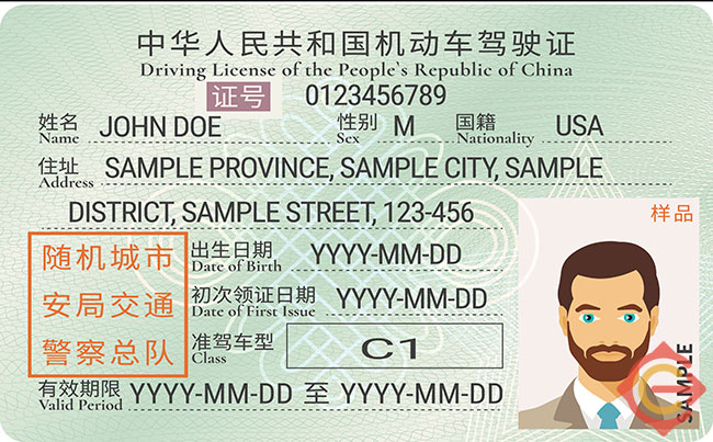 An example of a China driver's license
