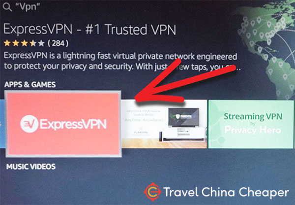 Search for ExpressVPN on Amazon Fire TV in China