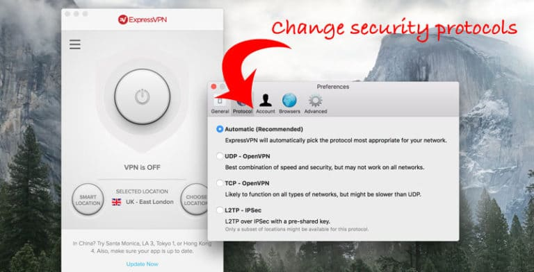 ExpressVPN security protocols in the 2019 desktop app