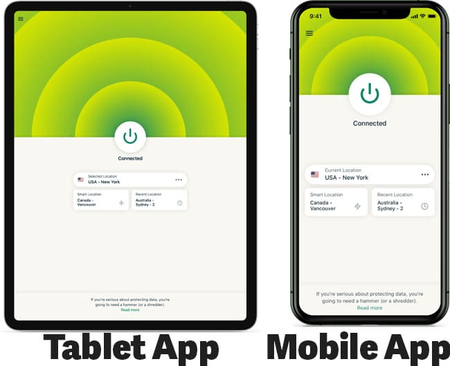ExpressVPN on mobile devices
