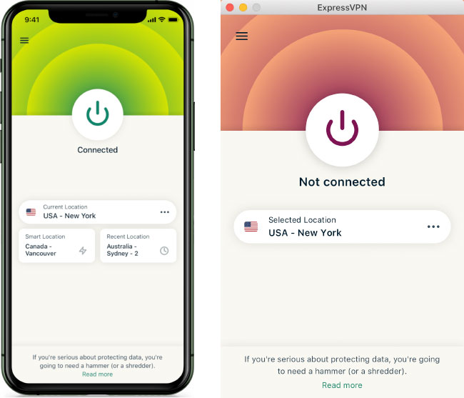 ExpressVPN mobile and desktop app