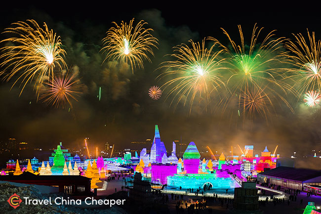 Fireworks over the Harbin ice festival in China
