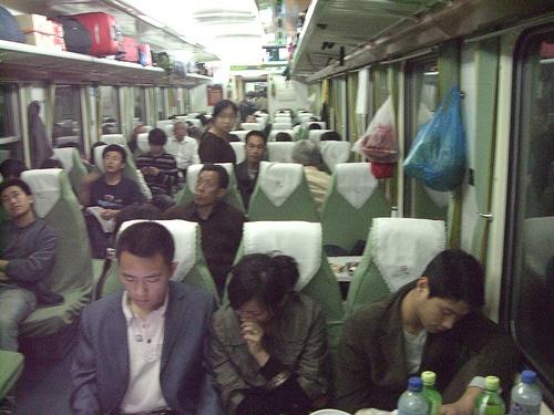 Soft seats on a China standard train.