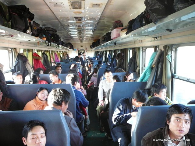 View of the hard seats on a standard China train