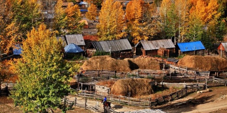 Xinjiang's Hemu Village during the fall