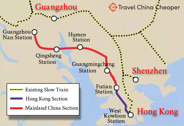 A map of the Guangzhou to Hong Kong high speed train in China