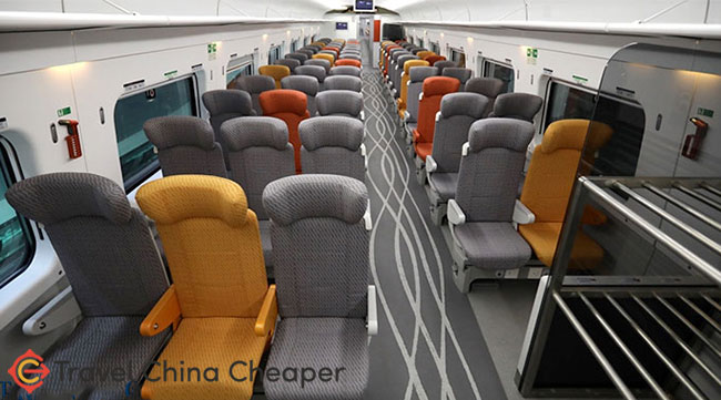 A view inside the second class car of the Hong Kong High speed train