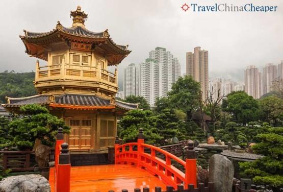 Pagoda in a park in Hong Kong