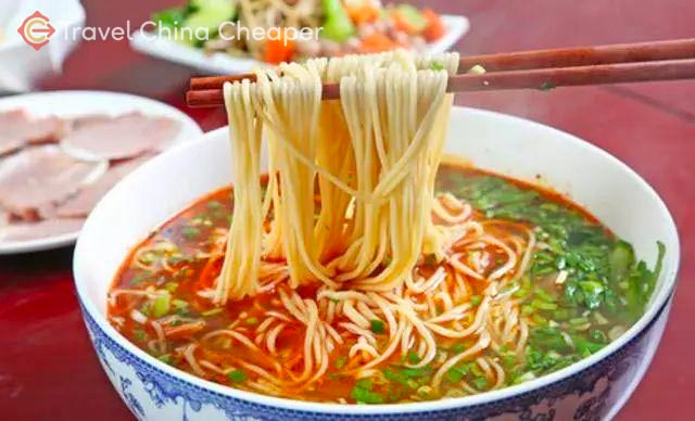 Lanzhou beef noodles (兰州牛肉面) are a tasty dish from western China.