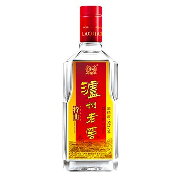 A bottle of Lúzhōu Lǎojiào (泸州老窖), a popular Chinese alcohol