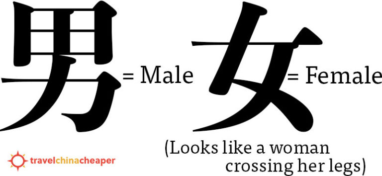 Chinese characters for Male (男) and Female (女)