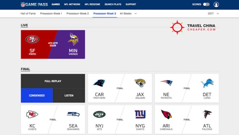 NFL Gamepass dashboard screenshot