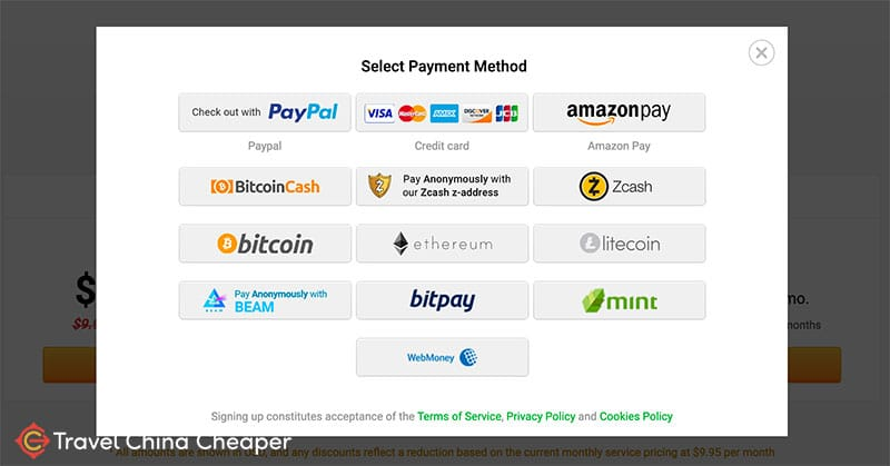 Payment methods available - Private Internet Access Review 2019