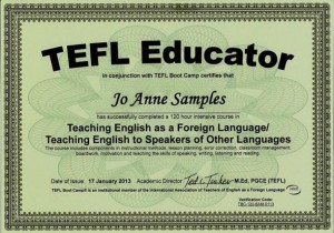 A sample TEFL teaching certificate for teaching English in China